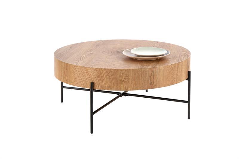 Журнальний стіл BROOKLYN дуб/чорний 80х80х37 (Halmar)