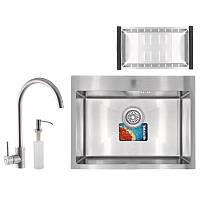Набор для кухни MIXXUS SET-6045-200x1.0-SATIN (мойка+смеситель+диспенсер+сушка для посуды) (MX0584)