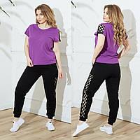 Женский летний повседневный костюм №753 (р.48-62) фиолет-черный