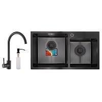 Набор для кухни MIXXUS SET-7843D-220x1.0-PVD (мойка+смеситель+диспенсер) (MX0585)