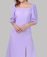 Ніжне плаття в горох з розрізом з тканини софт розміри 46-52