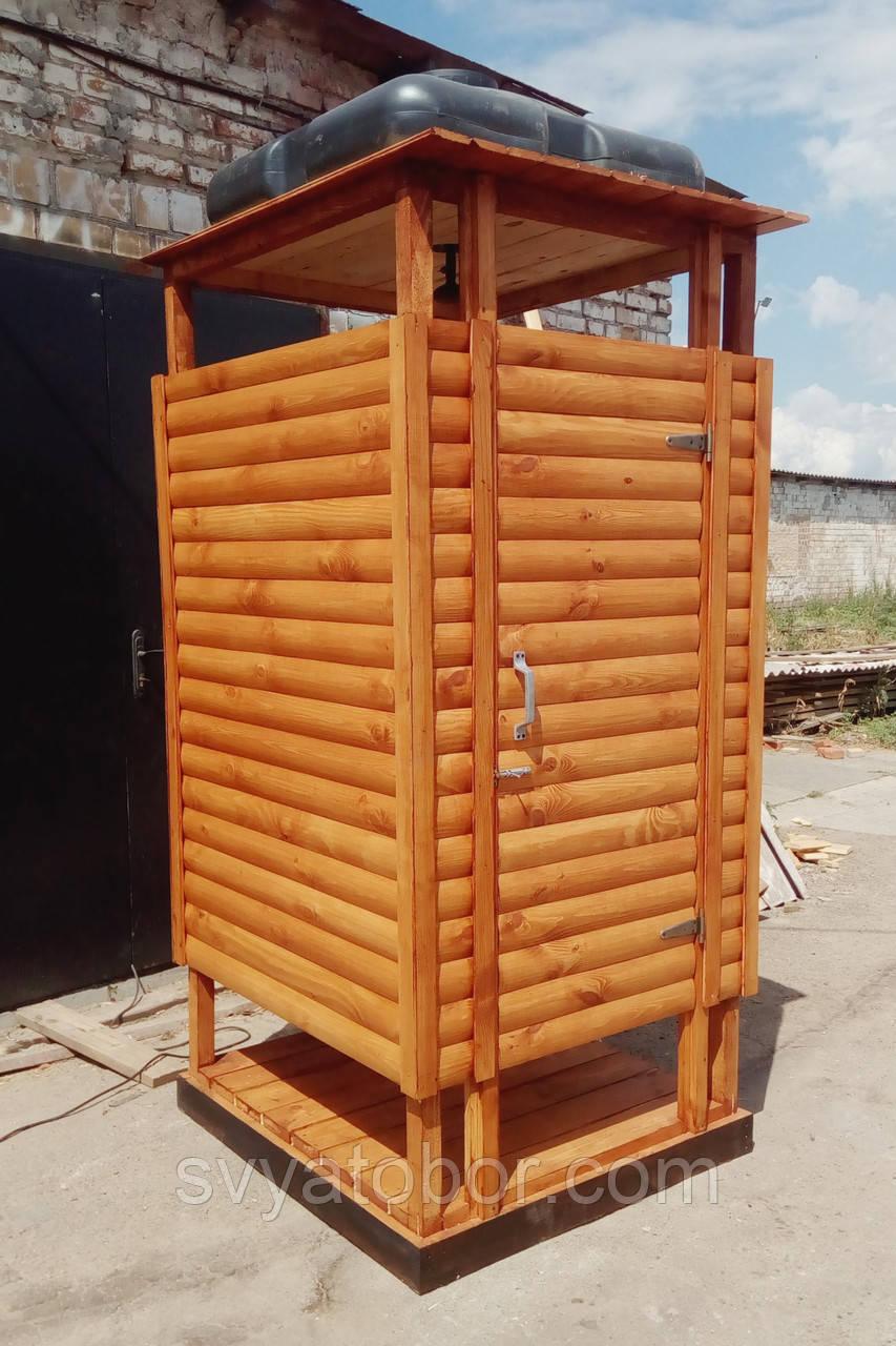 Душ деревянный летний из блок-хауса открытого типа