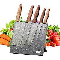 Набір ножів 6 предметів з нержавіючої сталі на підставці з мармуровим покриттям