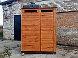 Душ дерев'яний літній (з передбанником) з імітації бруса закритого типу (в розібраному вигляді), фото 3