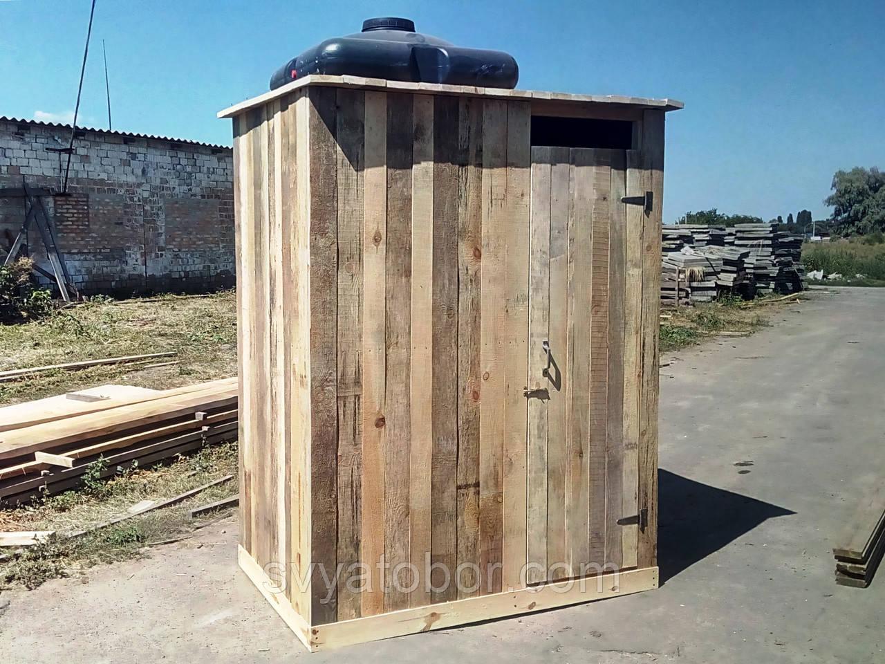 Душ деревянный летний (с предбанником) из обрезной доски закрытого типа