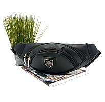 Спортивна сумка на пояс кожзам чорна Арт.09-8 (Україна)