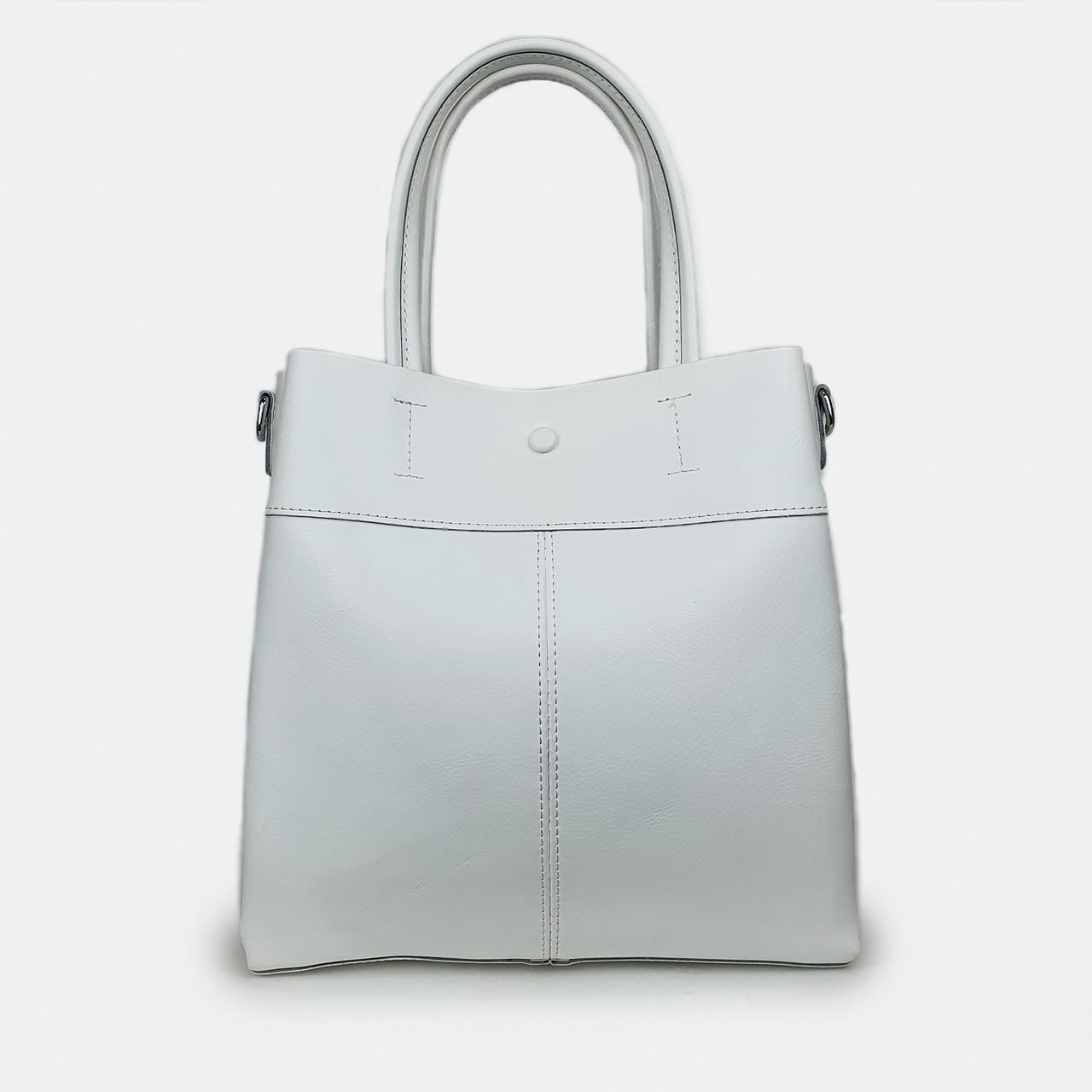Большая светлая кожаная сумка белая 371