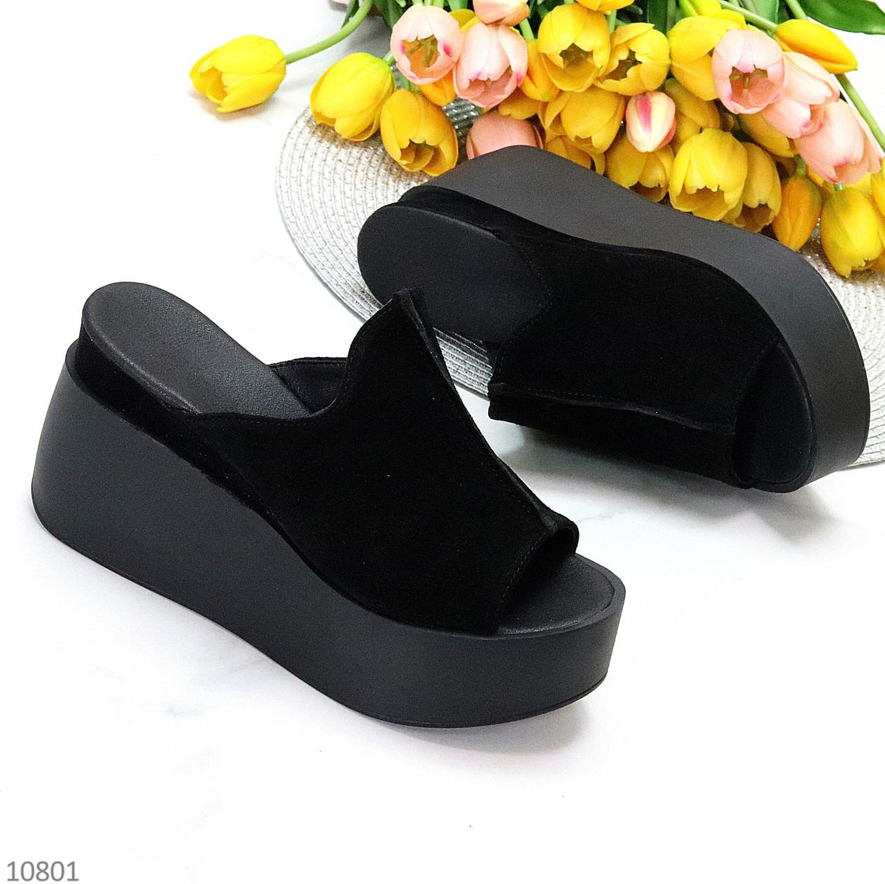 Замшеві лаконічні чорні жіночі шльопанці сабо натуральна замша на платформі