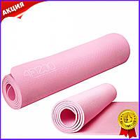 Коврик мат для йоги и фитнеса 4FIZJO Tpe 6мм Pink розовый нескользящий каремат для пилатеса аэробики спорта