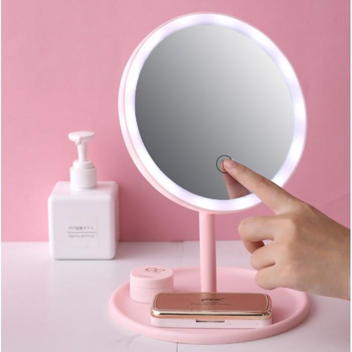 Косметичне дзеркало з Led підсвічуванням (3 режими світіння), на підставці з органайзером