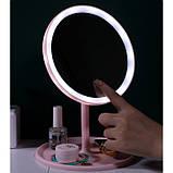 Косметичне дзеркало з Led підсвічуванням (3 режими світіння), на підставці з органайзером, фото 2