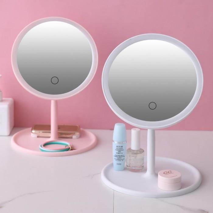 Зеркало косметическое с Led подсветкой (1 режим свечения), на подставке с органайзером