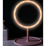 Зеркало косметическое с Led подсветкой (1 режим свечения), на подставке с органайзером, фото 2