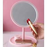 Зеркало косметическое с Led подсветкой (1 режим свечения), на подставке с органайзером, фото 3