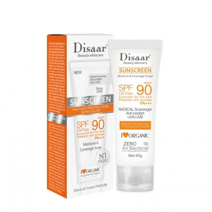 Крем солнцезащитный Disaar Oil Free SPF 90 PA+++ Sunscreen, с антиоксидантами, 40 г