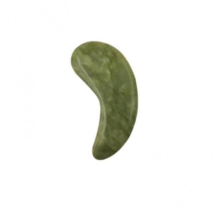 Скребок ГуаШа у формі патча, Галочка М'яка, зелений нефрит