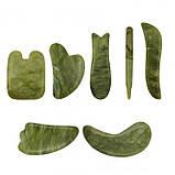 Скребок ГуаШа у формі патча, Галочка М'яка, зелений нефрит, фото 4
