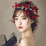 """Обідок для волосся з квітами """"Tender Flower"""", білий, червоний, фото 2"""