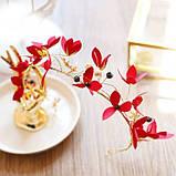 """Обідок для волосся з квітами """"Tender Flower"""", білий, червоний, фото 7"""