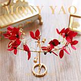 """Обідок для волосся з квітами """"Tender Flower"""", білий, червоний, фото 8"""