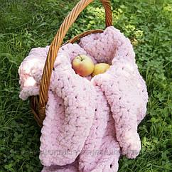 Дитячий в'язаний плюшевий плед ковдру Lukoshkino ® ручна робота пудровий (PP-1)