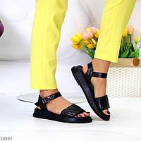 """Жіночі шкіряні босоніжки на низькому ходу Чорні """"Carry"""", фото 1"""