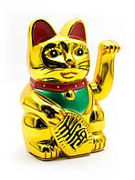 Кошка с машущей лапой на батарейке, Манэки-Неко, цвет Золотой (16,5*11*8см) большой с батарейкой