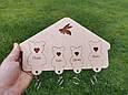 """Дерев'яна настінна ключниця """"Сім'я Ведмедів"""" Ключниця з дерева Ключниця дерев'яна з брелоками, гравіюванням, фото 3"""