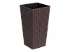 """Вазон """"Ротанг"""" квадратный 16*16*30 см. (тёмно-коричневый)"""