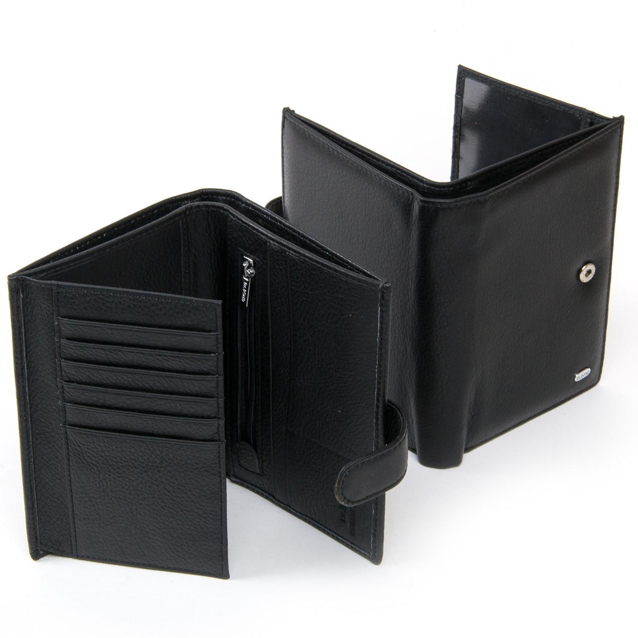 Гаманець портмоне чоловіче великий шкіряний на кнопці чорний всередині монетниця Dr. Bond MS-38 15х10,5х3 см