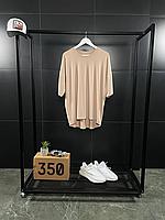 Бежевая оверсайз футболка ASOS   хлопок + эластан, фото 1