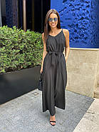 Ультрамодний комбінезон жіночий на тонких бретелях з штанами кльош, фото 5