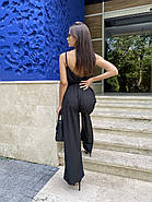 Ультрамодний комбінезон жіночий на тонких бретелях з штанами кльош, фото 2