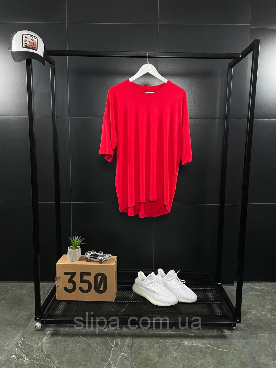 Червона оверсайз футболка ASOS   бавовна + еластан