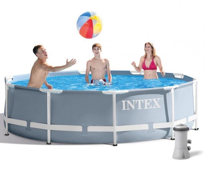 Басейн Каркасний Intex 26702 , 305х76см , для сім'ї, великий для дачі, круглий