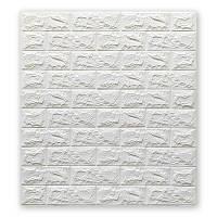 Декоративная 3Д-панель 5 шт. Глянцевый Белый Кирпич (самоклеющиеся 3d панели для стен оригинал) 700x770x7 мм