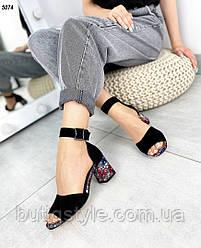 Женские черные босоножки натуральная замша на красивом каблуке