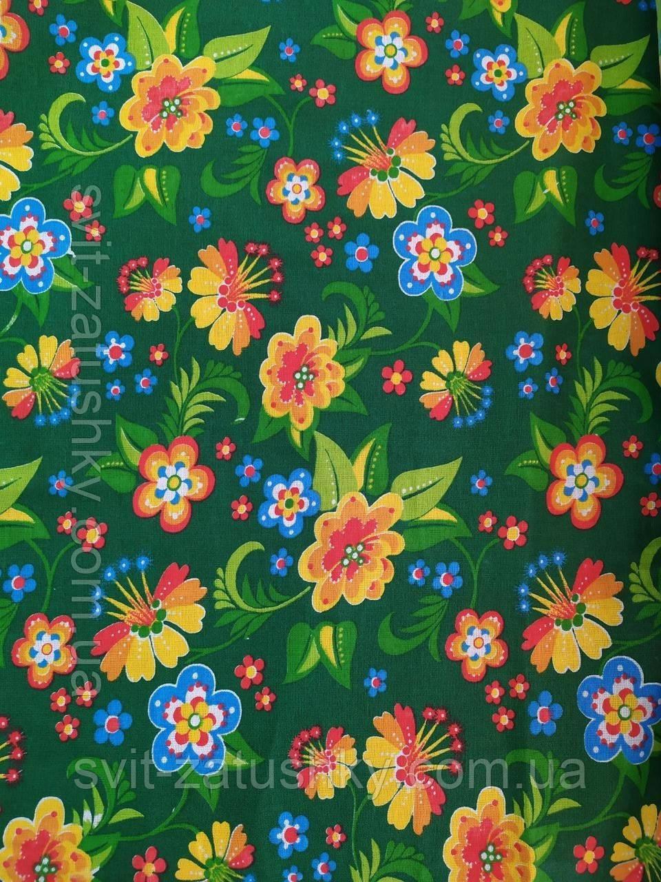 Ситец плательный, халатный: цветы на зеленом фоне  шириной 80 см.