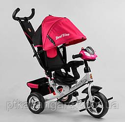Велосипед трехколесный для девочке с родительской ручкой и музыкой Малиновый Best Trike 6588 колеса пена