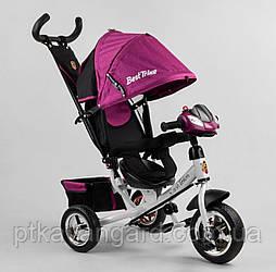 Трехколесный велосипед для девочки с родительской ручкой Сиреневый Best Trike 6588 музыкальный, колеса пена
