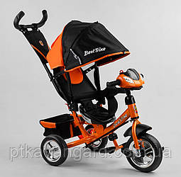 Велосипед трехколесный с родительской ручкой Best Trike 6588 Оранжевый колеса пена, музыкальная панель
