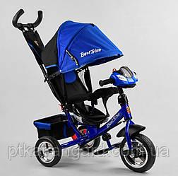 Велосипед 3-х колёсный с родительской ручкой Синий Электрик Best Trike 6588 колеса пена, музыкальная панель
