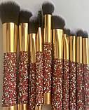 Стильний набір кісточок для макіяжу в гаманці Gold Glamur, 10 шт.  Якісні кисті для макіяжу в стилі Glamor., фото 9