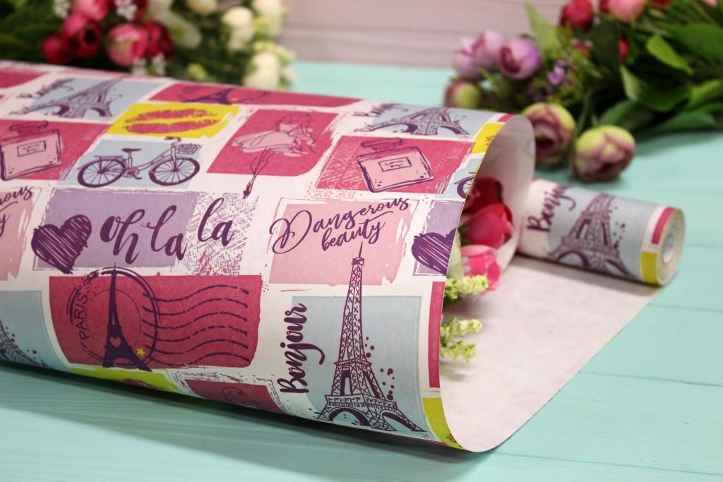 """Одностороння пакувальна крафт папір """"Франція Oh-la-la"""" на білому 70см*10м"""