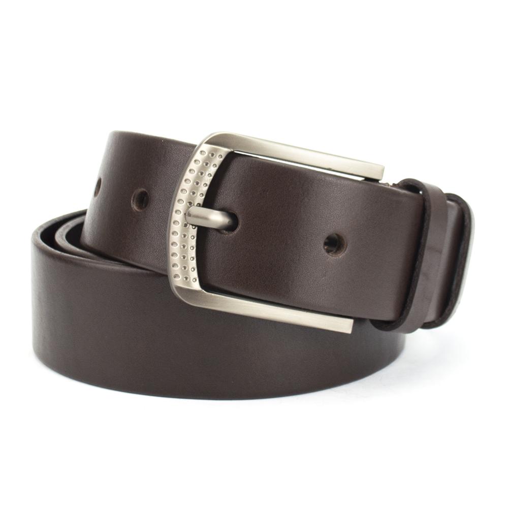 Ремень мужской кожаный классический коричневый PS-4021 (125 см)