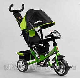 Велосипед трехколесный с родительской ручкой Зеленый Best Trike 6688 с музыкальной панелью, колеса пена