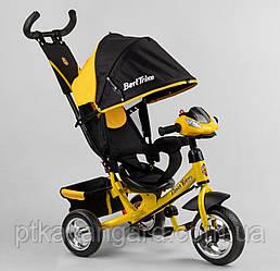 Велосипед трехколесный с родительской ручкой Желтый Best Trike 6588 с музыкальной панелью, колеса пена
