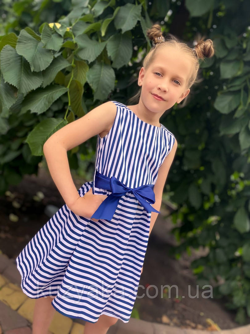 Дитяче літнє плаття сукня в полоску на зріст 104-122 см