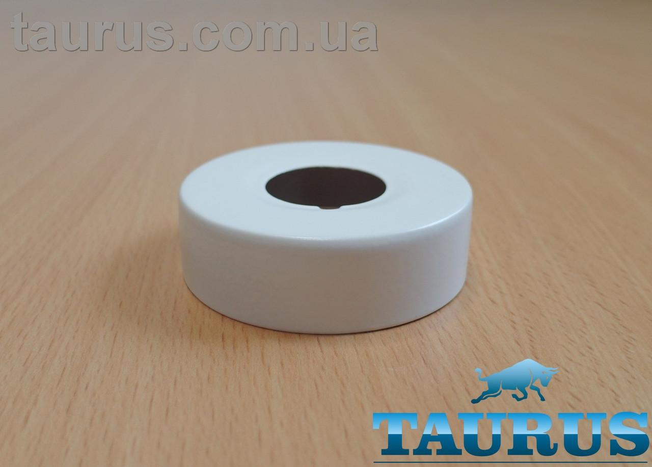 """Білий високий плоский декор фланець ThermoPulse White D62 / висота 19 мм, внутрішній розмір 3/4"""" (d25мм)"""