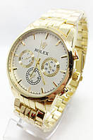 Годинники чоловічі наручні Rolex (Ролекс), золото з білим циферблатом ( код: IBW684YO )